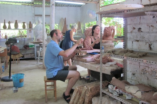 Seebert, Gamble, Fisher working at Bangmin Nongs private studio.