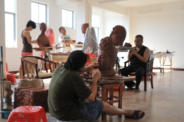 Chinese Professors working at the Huyai QinZhou NiXing Pottery Factory 2013